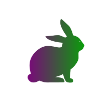 Purple & Green Cruelty free Bunny Rabbit Symbol With Not Tested On Animals Written Around