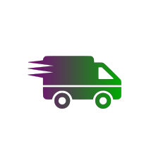 Free & Fully Tracked Shipping Badge Consisting Of A Purple & Green Delivery Truck Symbol