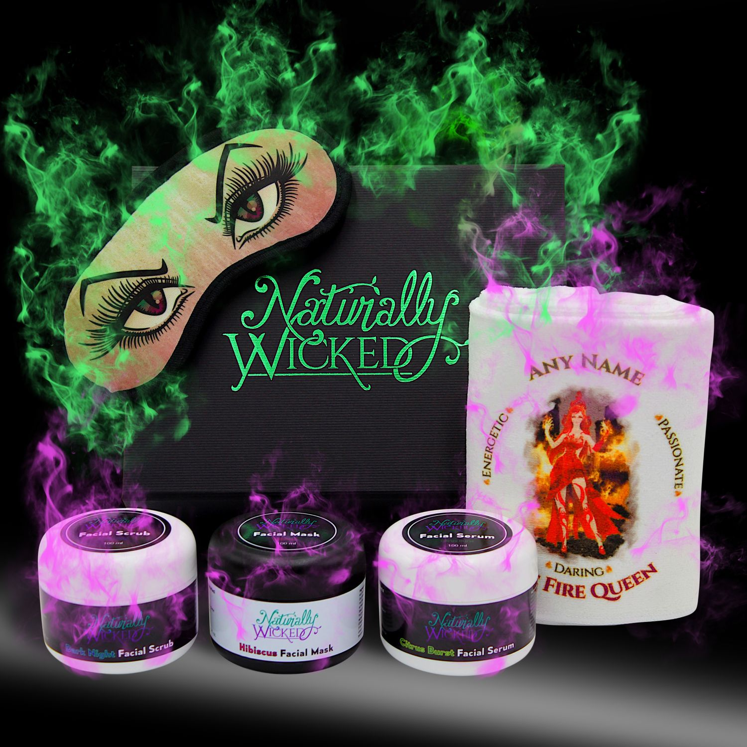 Naturally Wicked Deluxe Facial Kit Surrounded By Green & Purple Mysterious Smoke