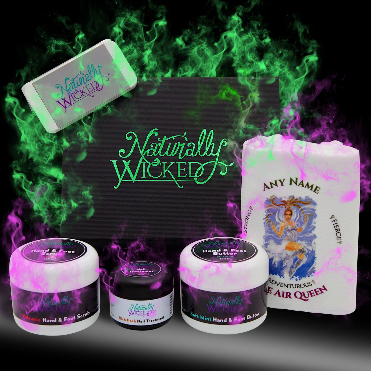 Naturally Wicked Deluxe Hand & Foot Kit Surrounded By Green & Purple Smoke