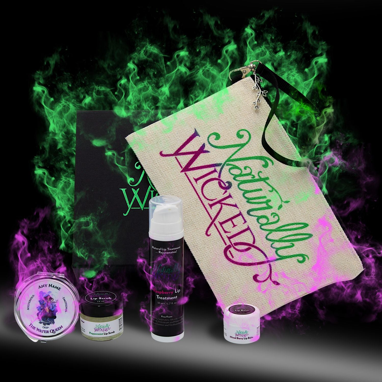 Naturally Wicked Deluxe Lip Kit Surrounded By Mysterious Green & Purple Smoke