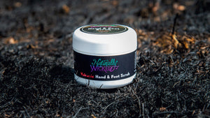 Naturally Wicked Volcanic Hand & Foot Scrub On Burnt Background