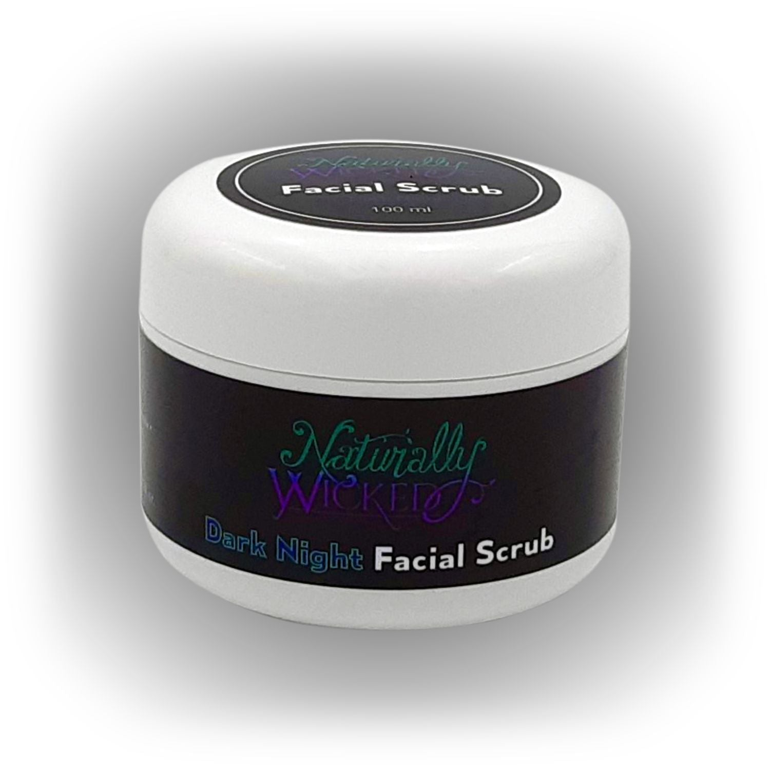 Naturally Wicked Exfoliating Dark Night Facial Scrub On Black Background