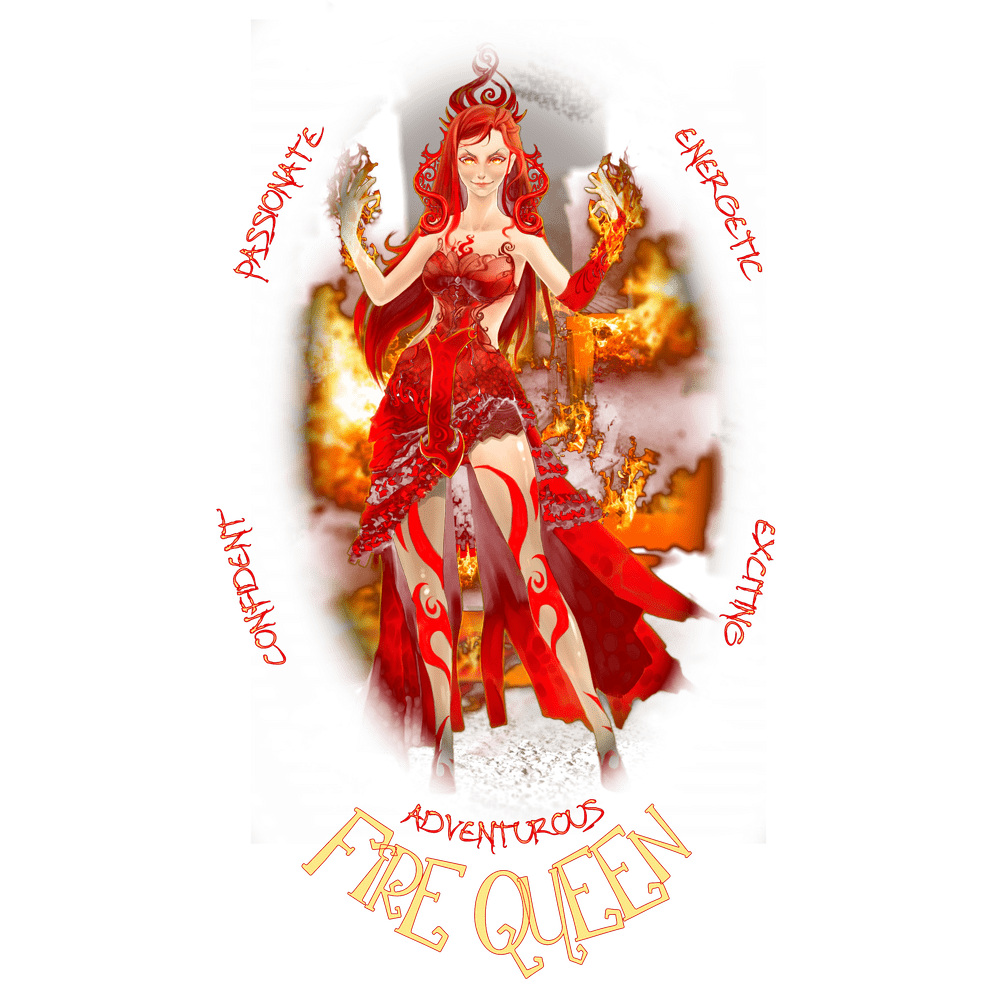 Naturally Wicked Fire Queen On A Flamed Background