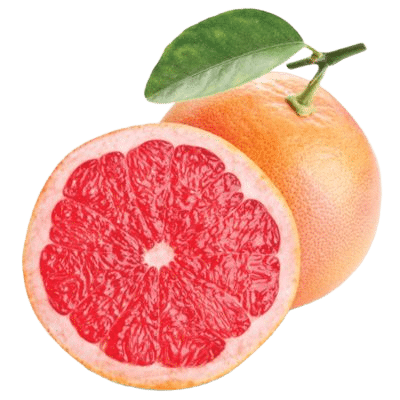 Whole Yellow Grapefruit Alongside Cut Pink Fleshy Grapefruit On White Background