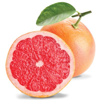 A Whole Orangey Pink Grapefruit Alongside A Half Red Fleshy Grapefruit With Green Leaves