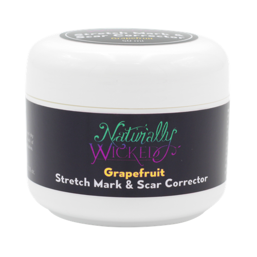 Naturally Wicked Grapefruit Stretch Mark & Scar Corrector Cream On Black Background