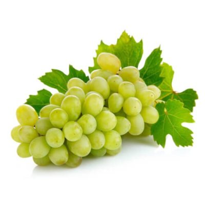 A Fresh Bunch Of Green Grapes With Grape Leaves