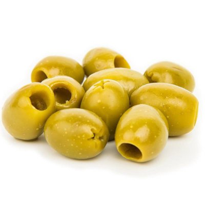 Small Serving Of Green Olives On White Background