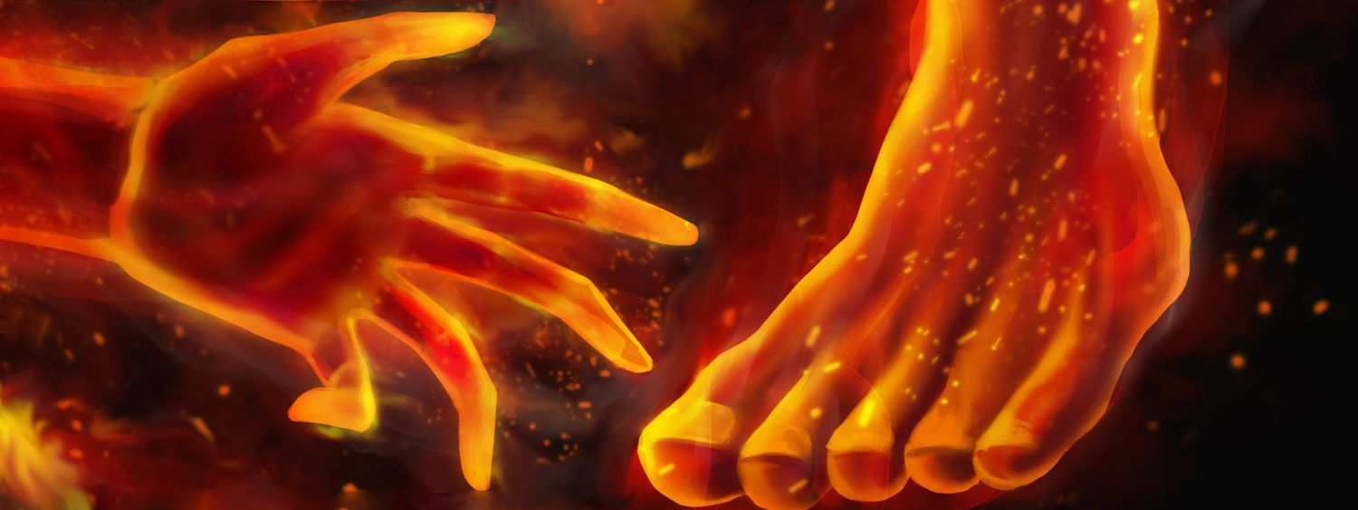 Hand & Foot Surrounded By Fire & Orange Embers