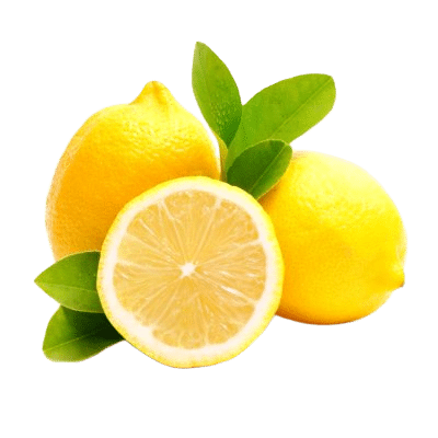 Two Whole Bright Yellow Lemons & A Half Lemon With Inner Exposed In Front Of Green Lemon Leaves