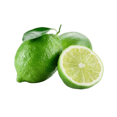 Two Whole Green Limes Amongst A Half Fleshy Lime