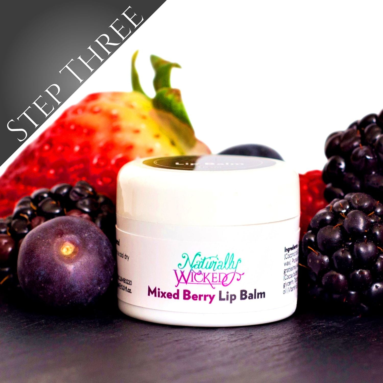 Naturally Wicked Mixed Berry Lip Balm Surrounded By Blueberries, Blackberries & Raspberries