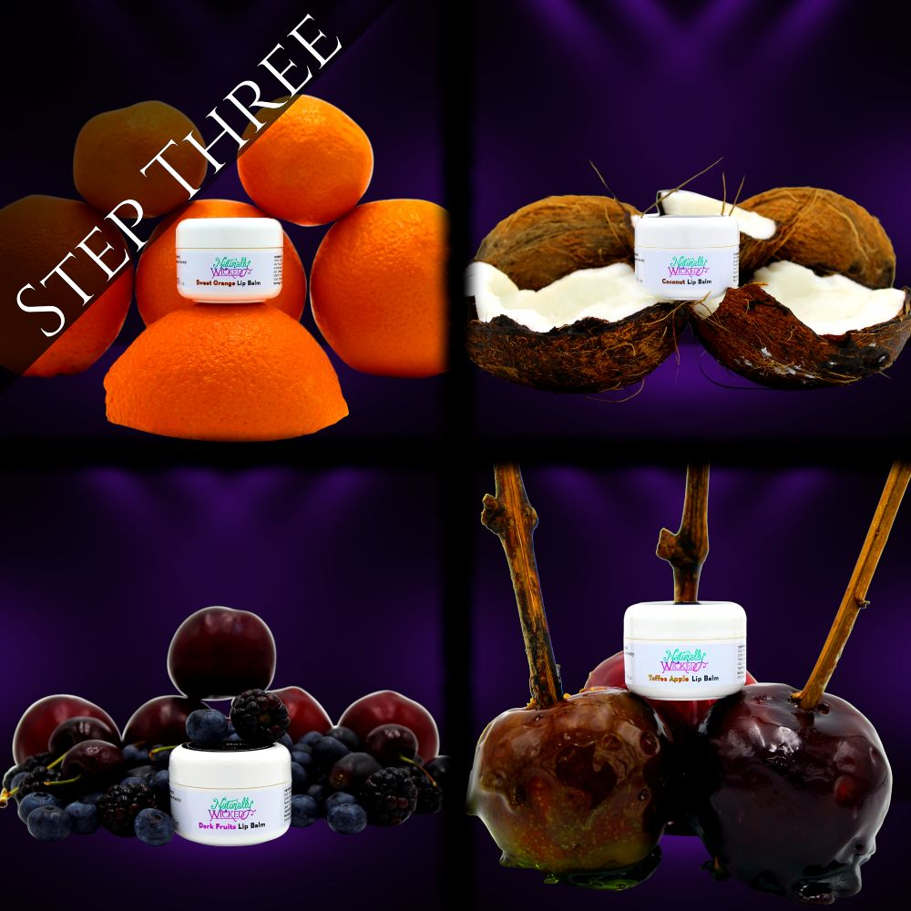 Naturally Wicked Sweet Orange, Coconut, Toffee Apple & Mixed Berry Lip Balms On A Purple Lit Background, & Surrounded By Fruits