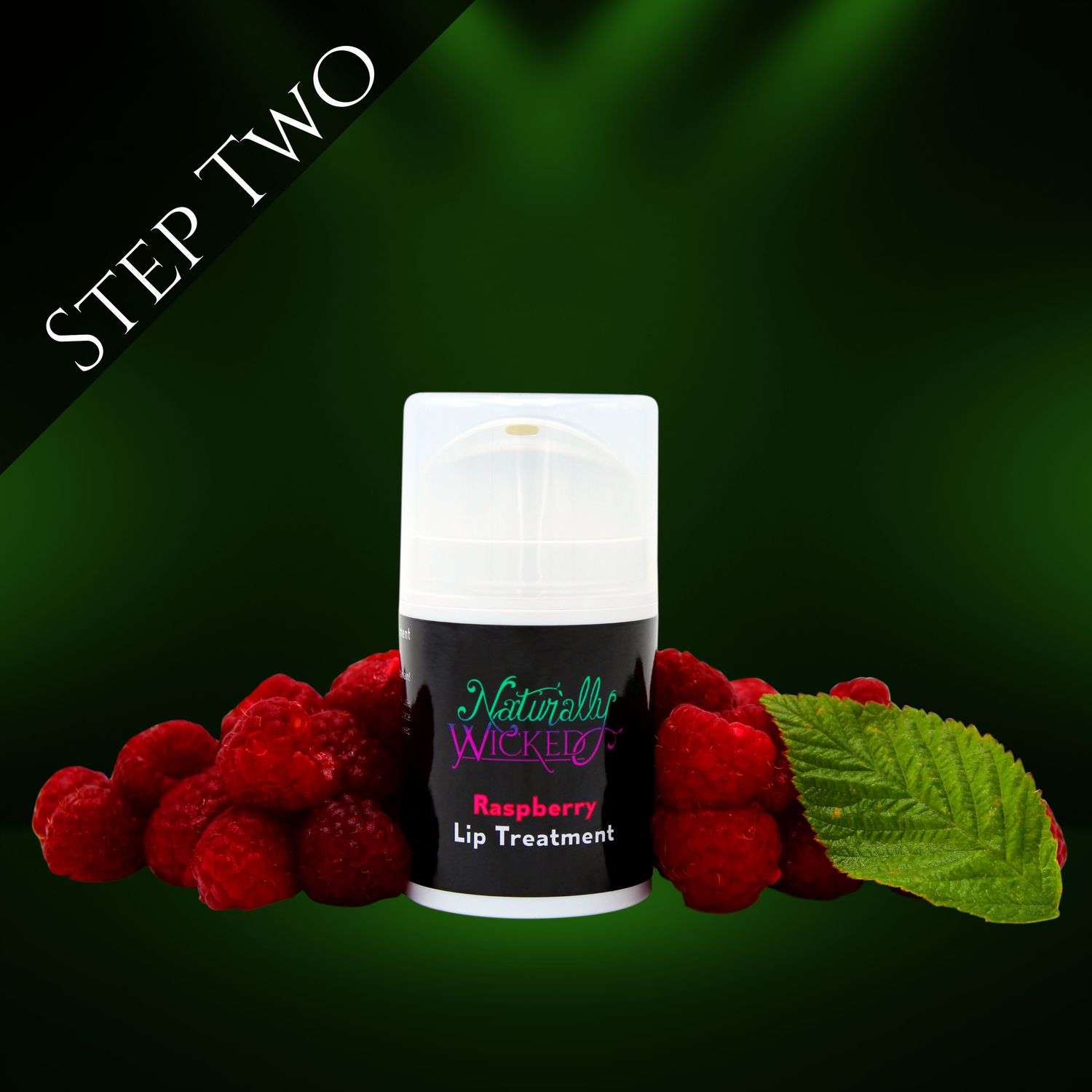 Naturally Wicked raspberry Lip Treatment Surrounded By Luscious, Red, Fruity Raspberries