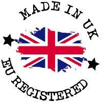 Made In The UK Icon With Great British Flag In Red, White & Blue