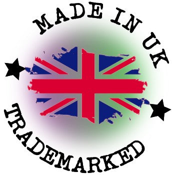 Made In The UK Icon With Great British Flag In Red, White & Blue - Dark Purple & Green Mist In Background