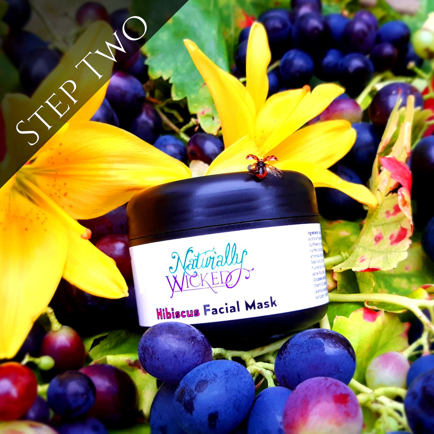 Naturally Wicked Hibiscus & Vanilla Facial Mask Next To Purple Grapes & Hibiscus Flower  - Step 2