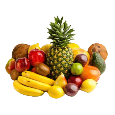 Various Mixed Fruits Stacked Amongst One Another Such As Pineapple, Coconut & Citrus Fruits