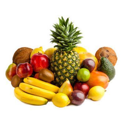 Various Mixed Fruits Dtacked Amongst One Another Such As Pineapple, Coconut & Citrus Fruits
