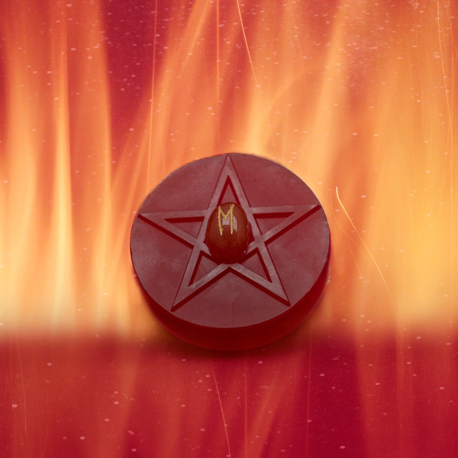 Naturally Wicked Bright Red Fortune Soap For The Lover Resting Within Bright Orange Flames