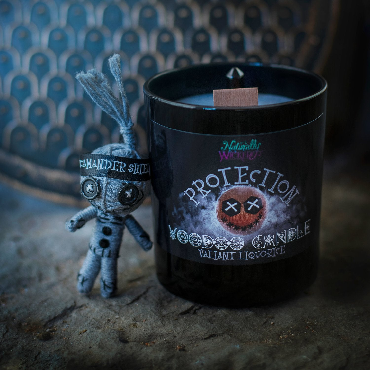 Naturally Wicked Voodoo Protection Spell Candle Entombed With Crystal & Accompanied By Protective Voodoo Doll; Scamander Shield