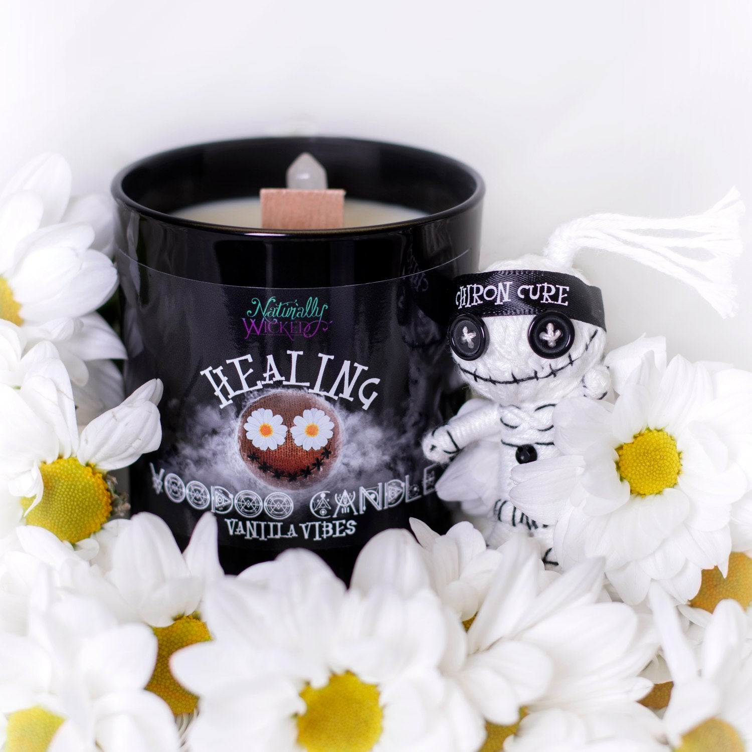 Naturally Wicked Voodoo Healing Spell Candle Entombed With Quartz Crystal Amongst Daisies & Healing Voodoo Doll