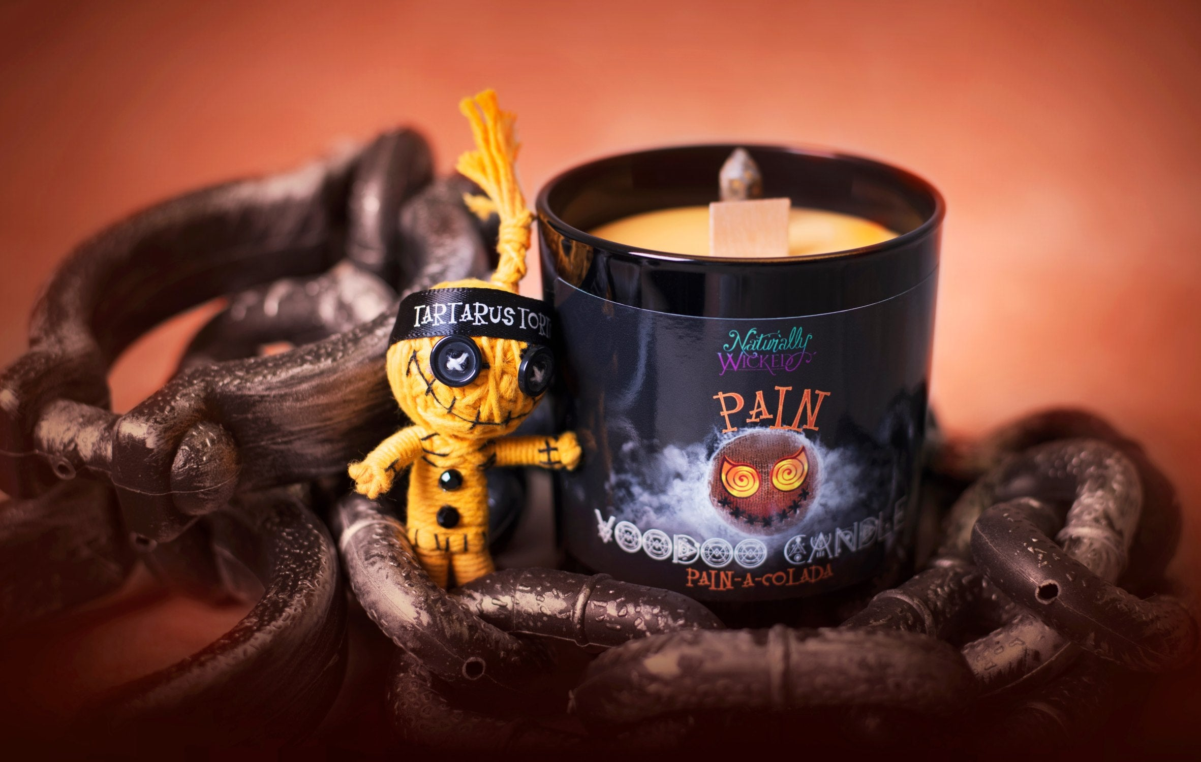 Naturally Wicked Voodoo Pain Spell Candle Entombed With Crystal, Amongst Torture Chains & Torture Voodoo Doll