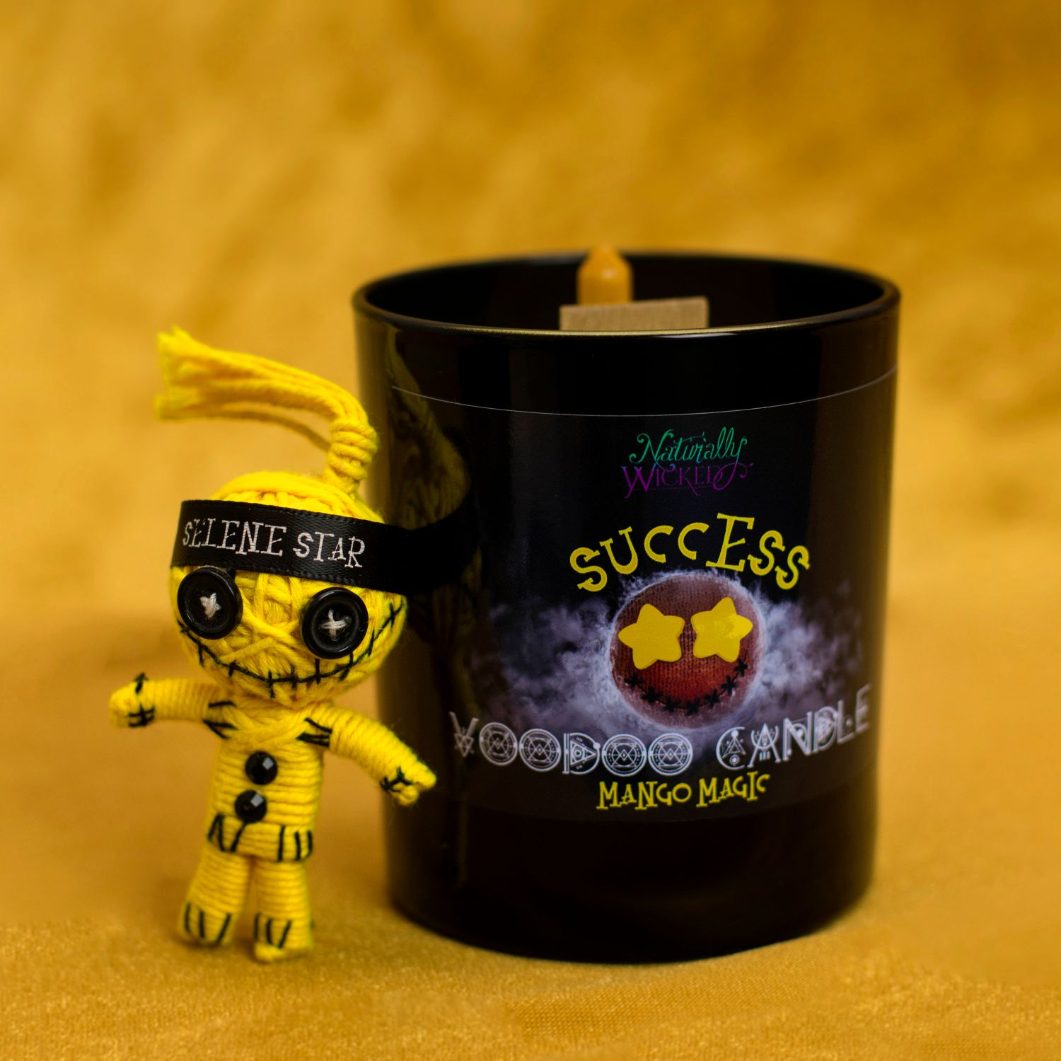 Naturally Wicked Voodoo Success Candle With Bright Yellow Voodoo Doll & Jade Crystal