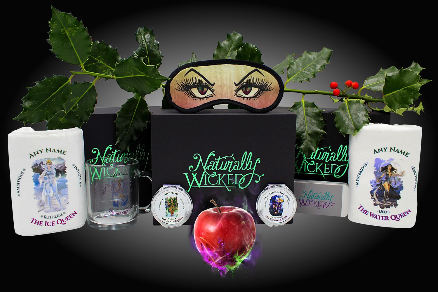 Naturally Wicked Personalised Wicked Queen Gift Sets With Green Holly & Red Berries
