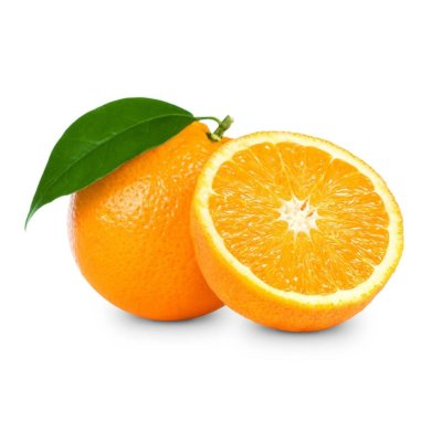 Whole Orange Fruit Alongside Leaves & A Half Orange Fruit With Flesh Exposed On White Background