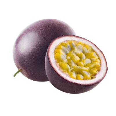 Purple Passion Fruit Next To A Half chopped Fleshy Yellow Passion Fruit On White Background