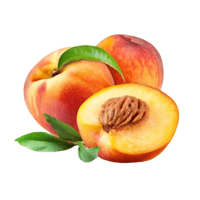 Two Whole Peaches Alongside A Half Peach With Flesh & Kernel Exposed