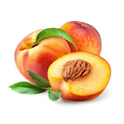 Two Whole Fresh Juicy Peaches Alongside A Half Fleshy Peach With Kernel Exposed