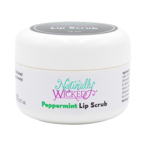 Naturally Wicked Exfoliating Peppermint Lip Scrub On Black Background