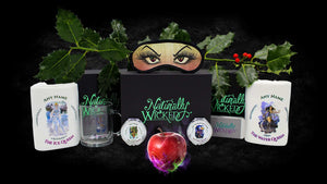 Naturally Wicked Personalised Gifts On Black Background With Poison Apple, Manicure Set, Personalised Mirrors, Personalised Towels, Personalised Mug & Green Gift Box