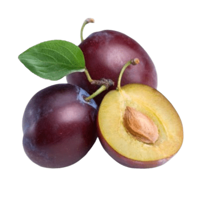 Two Whole Plums Alongside Half Fleshy Plum With Exposed Plum Kernel