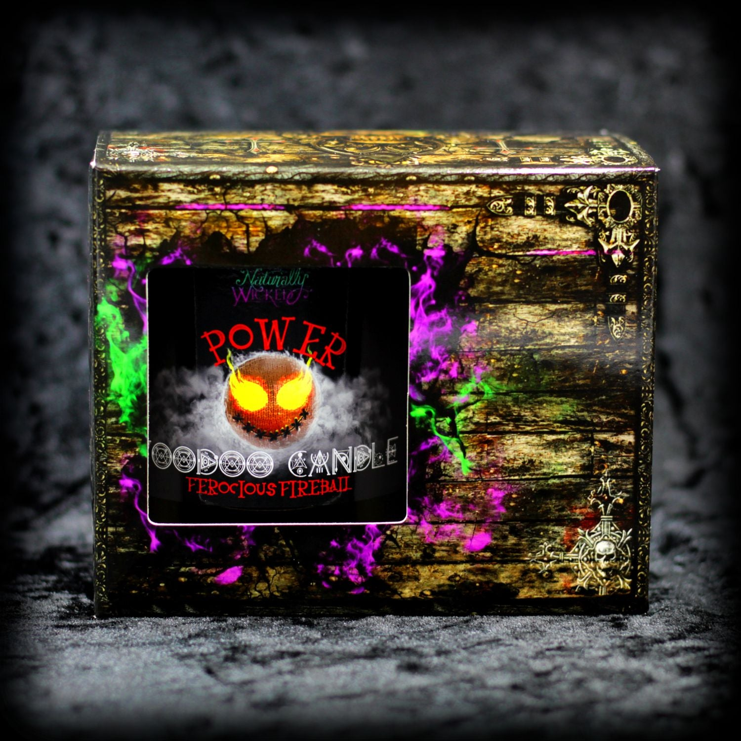 Naturally Wicked Bright Red Voodoo Power Candle In Cursed Wooden Look Box