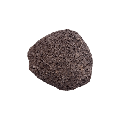 Natural Dark & Grainy Volcanic Pumice Stone On White Background