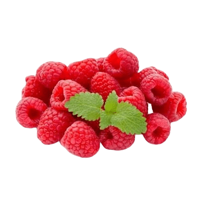 A Pile Of Luscious Red Raspberries With Green Raspberry Leaves