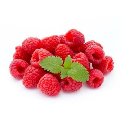 Juicy & Luscious Red Raspberries With Green Leaf On Top
