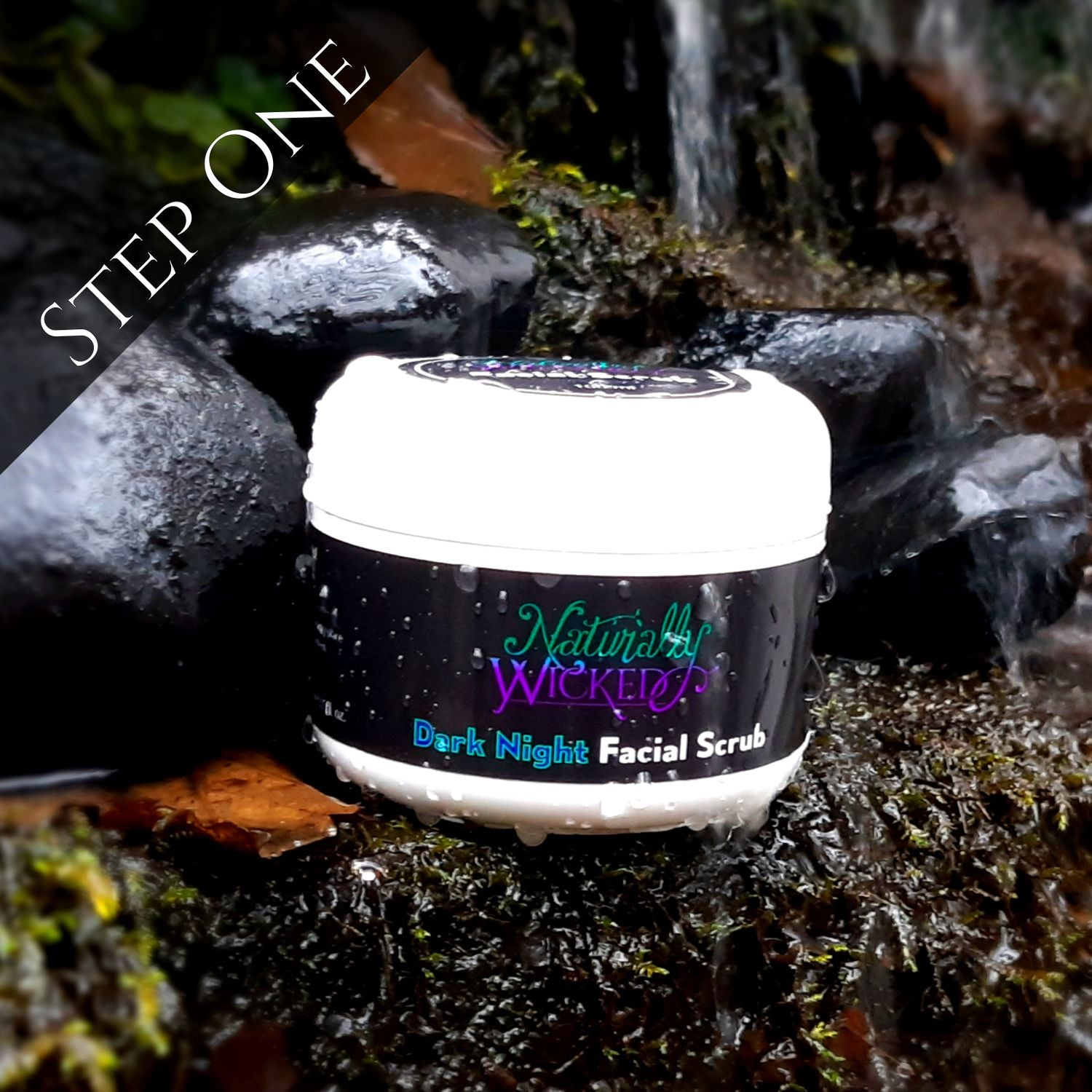Naturally Wicked Dark Night Liquorice Facial Scrub In Waterfall Surrounded By Black Charcoal - Step 1