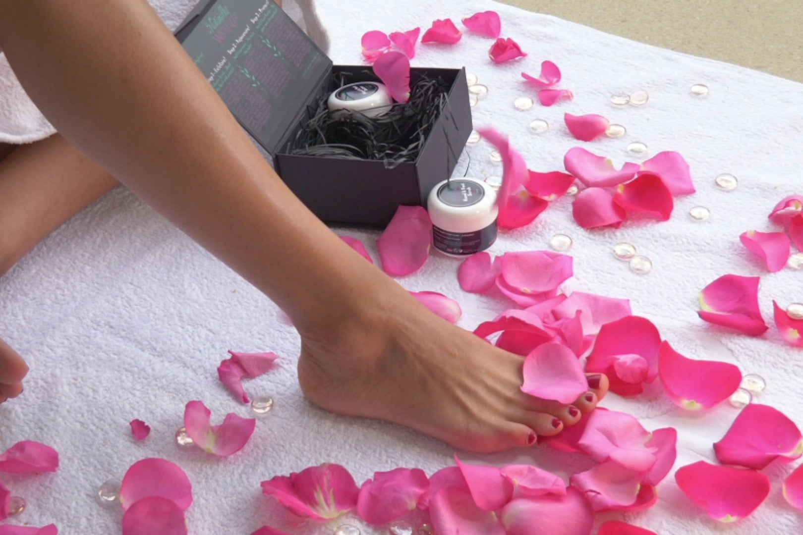 Naturally Wicked Beauty Kit Amongst Roses & Beautiful Ladies Legs