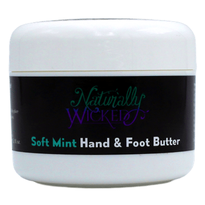 Naturally Wicked Moisturising Soft Mint Hand & Foot Butter On Black Background