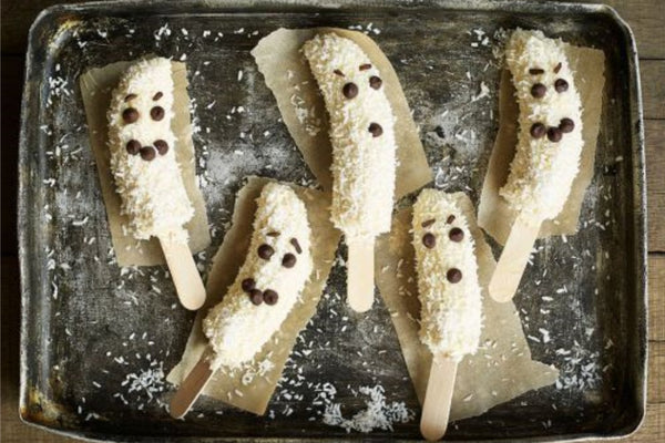 Frozen Banana Ghost Treats Made For Children At Halloween