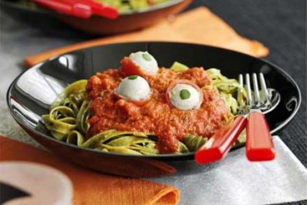 Spooky Spaghetti and Sauce Topped With Mozzerella Eyeballs, Perfect For Halloween