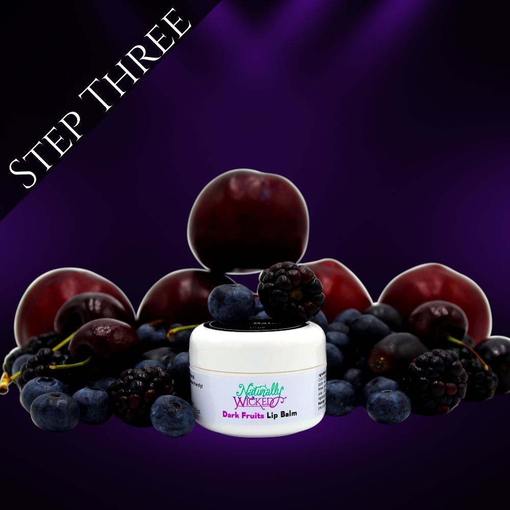 Naturally Wicked Dark Fruits Lip Balm Surrounded By Blueberries, Blackberries & Raspberries