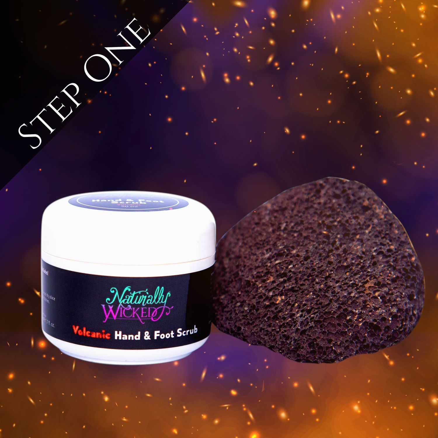 Naturally Wicked Exfoliating Volcanic Hand & Foot Scrub Surrounded By Black Burnt Grass  - Step 1
