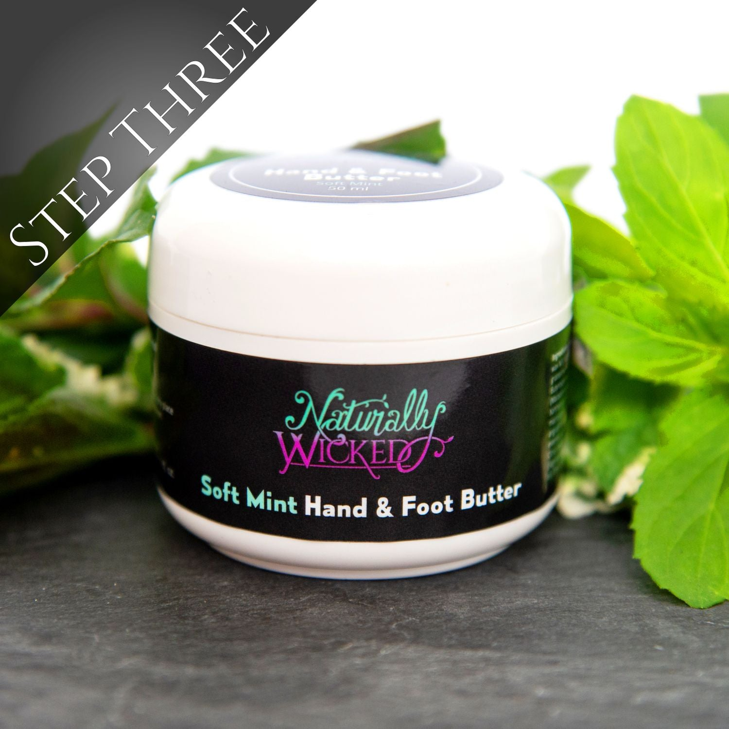 Naturally Wicked Soft Mint Hand & Foot Butter Amongst Hydrating Green Mint Leaves - Step 3