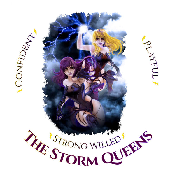 Naturally wicked Storm Queens Surrounded By Lightning & Text; Confident, Playful & Strong Willed